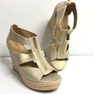 Michael Kors Damita Wedge Zip front Heels Sandals
